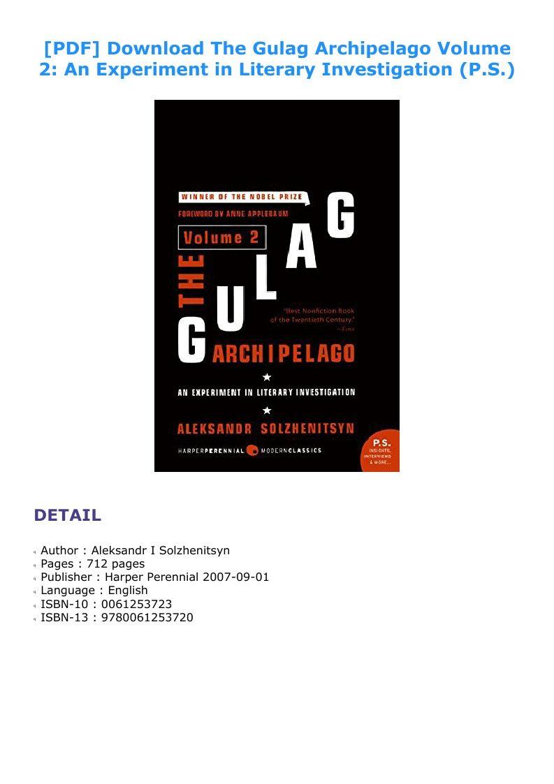 Gulag Archipelago Pdf Volume 2