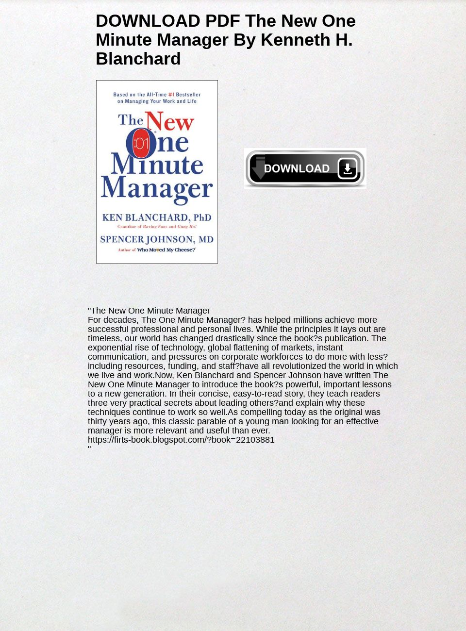 One Minute Manager Pdf Download