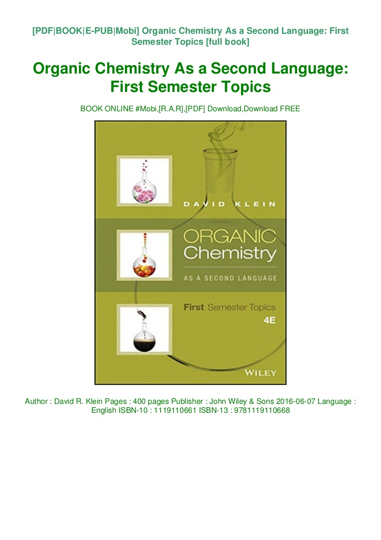 Organic Chemistry As A Second Language Pdf Download