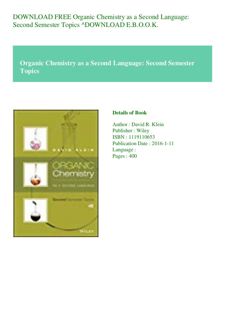 Organic Chemistry As A Second Language Pdf Free Download
