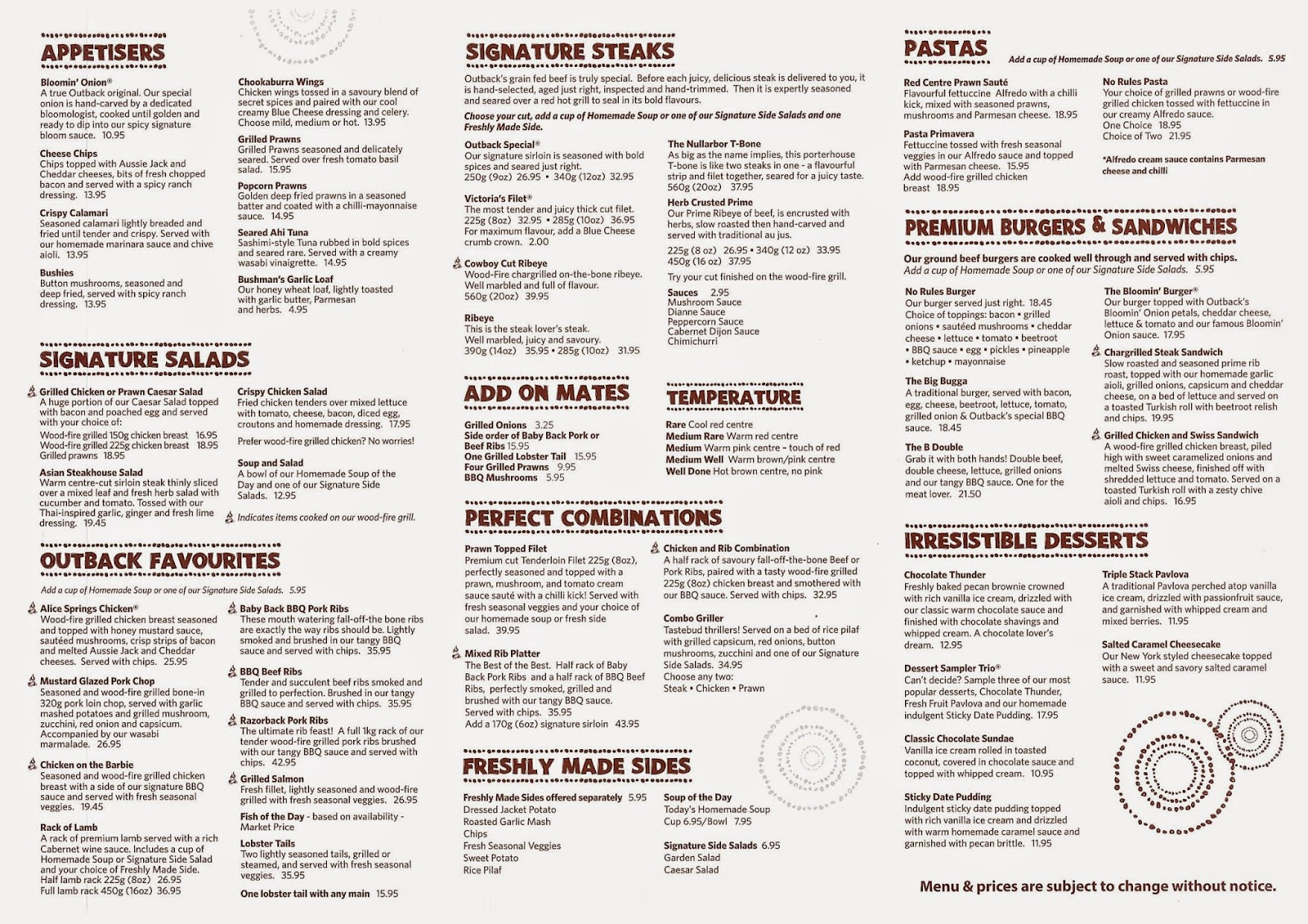 Pdf Outback Steakhouse Drink Menu