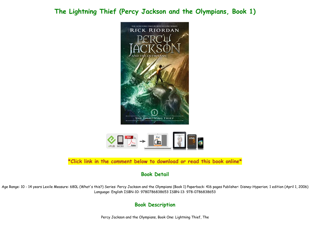 Percy Jackson The Lightning Thief Pdf Download