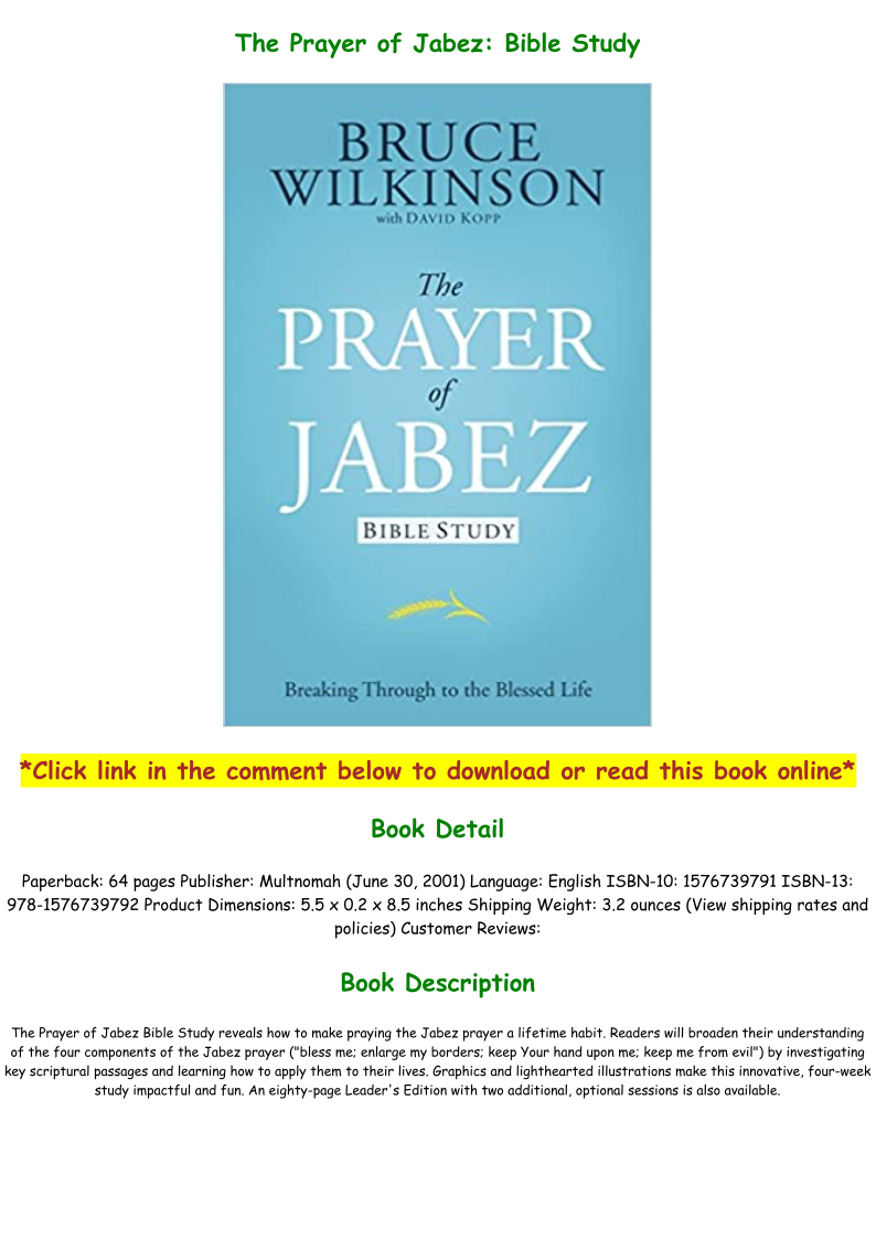 Prayer Of Jabez Pdf