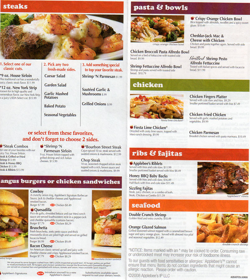 Printable Applebees Menu Pdf