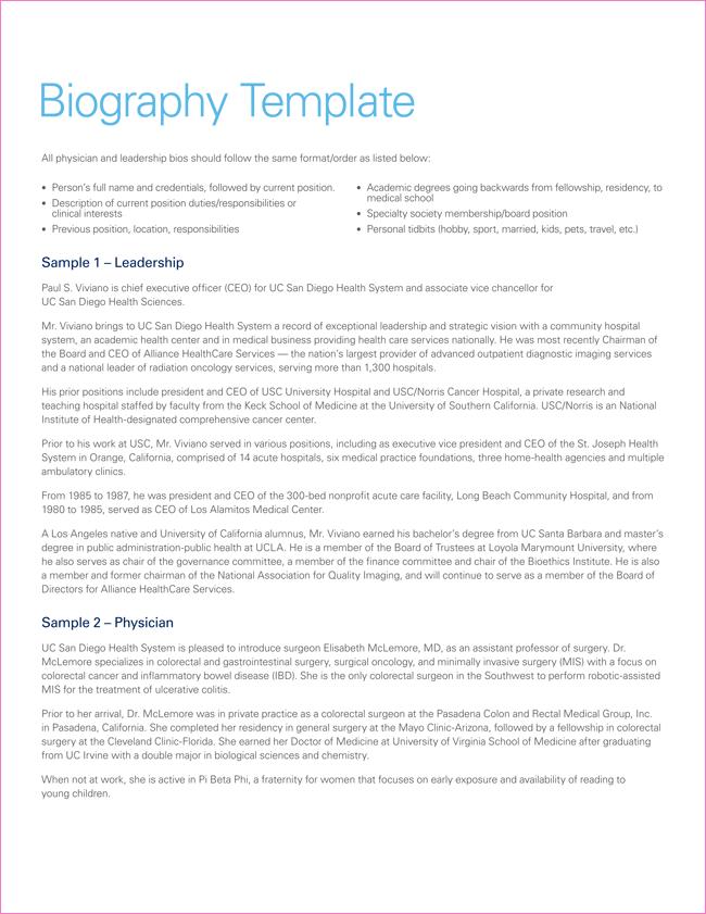 Printable Biography Template Pdf