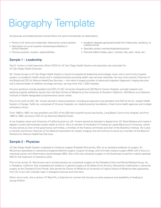 Printable Short Biography Template Pdf