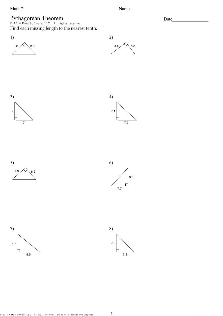 Pythagorean Theorem Worksheet Pdf With Answers