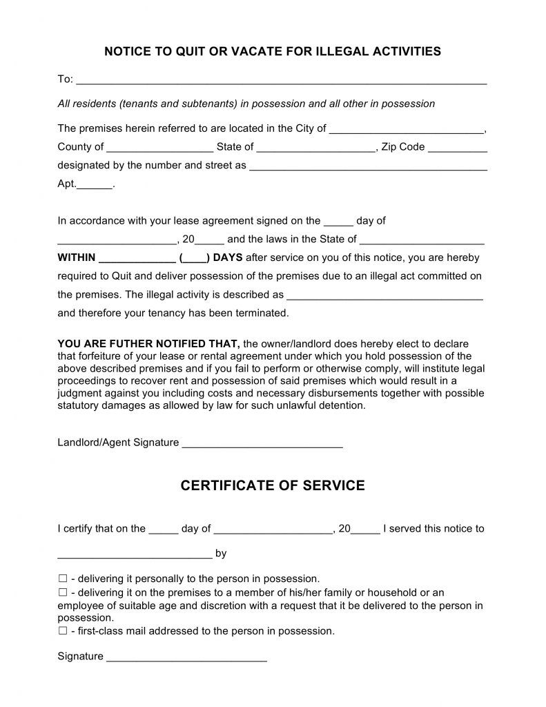 Quit Free Blank Eviction Notice Pdf