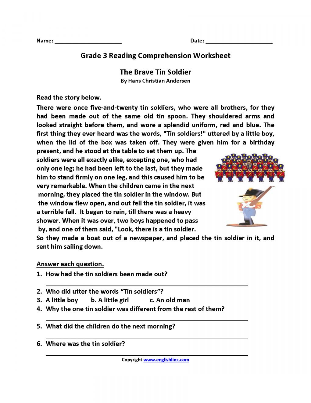 Reading Comprehension Worksheets For Grade 3 Pdf Free