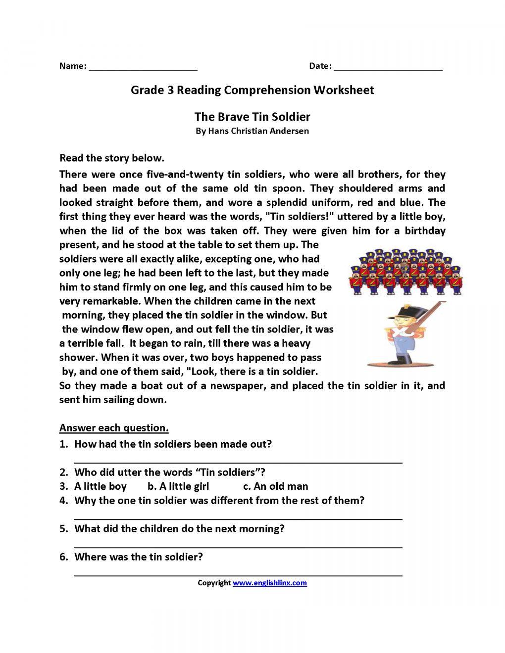 Reading Comprehension Worksheets For Grade 3 Pdf Free