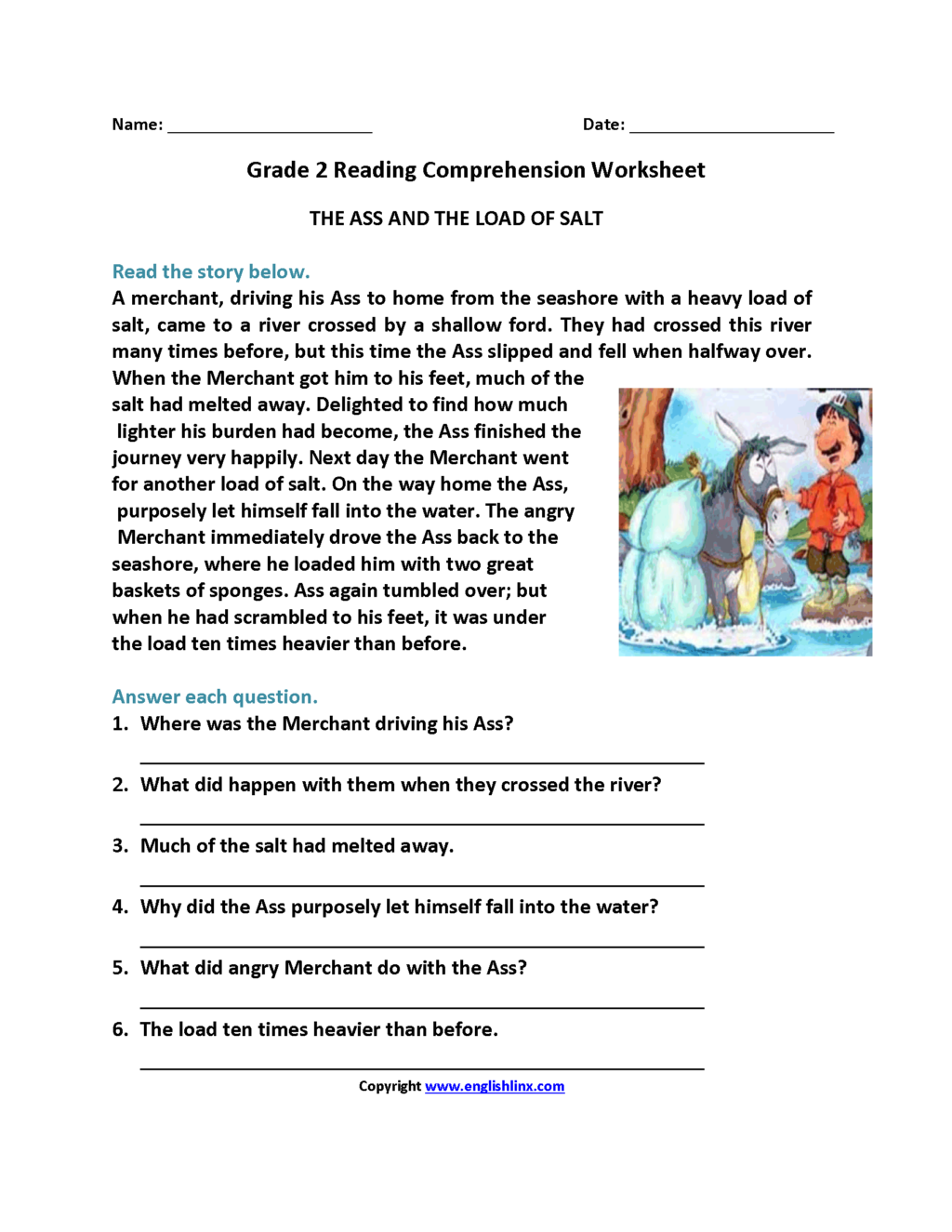 Reading Comprehension Worksheets For Grade 3 Pdf With Answers