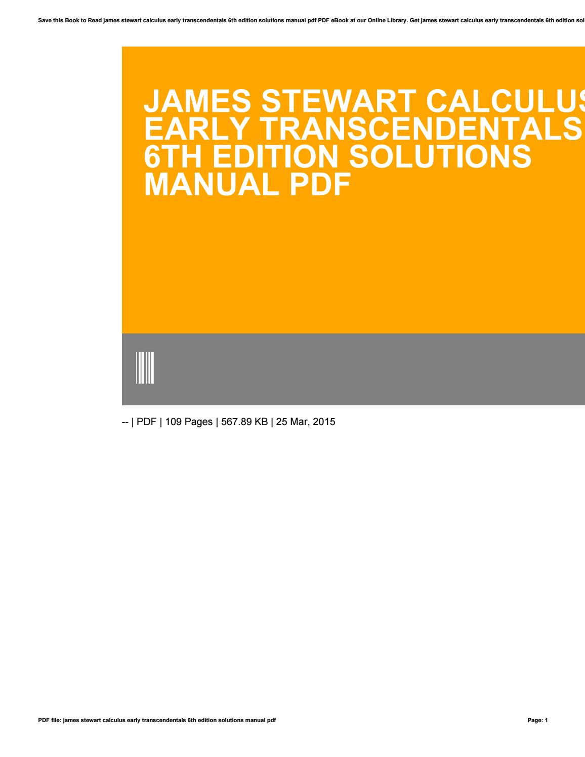 Stewart Calculus Early Transcendentals Pdf