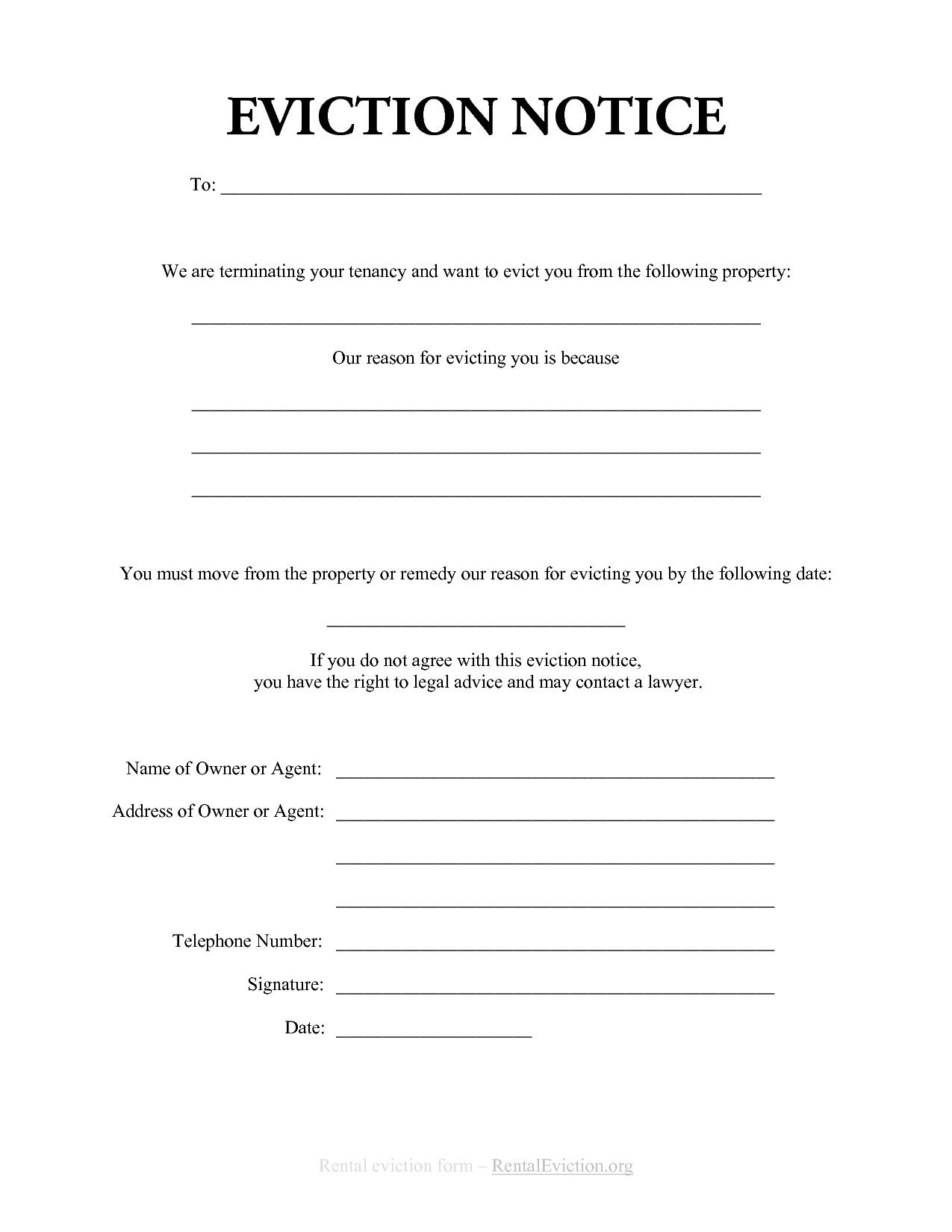 Termination Free Blank Eviction Notice Pdf