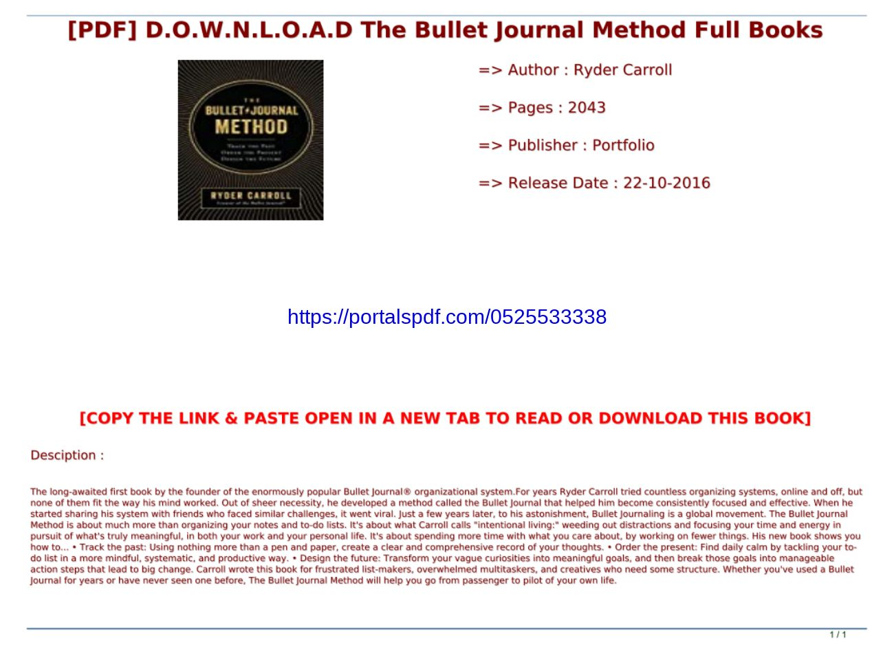 The Bullet Journal Method Pdf Download