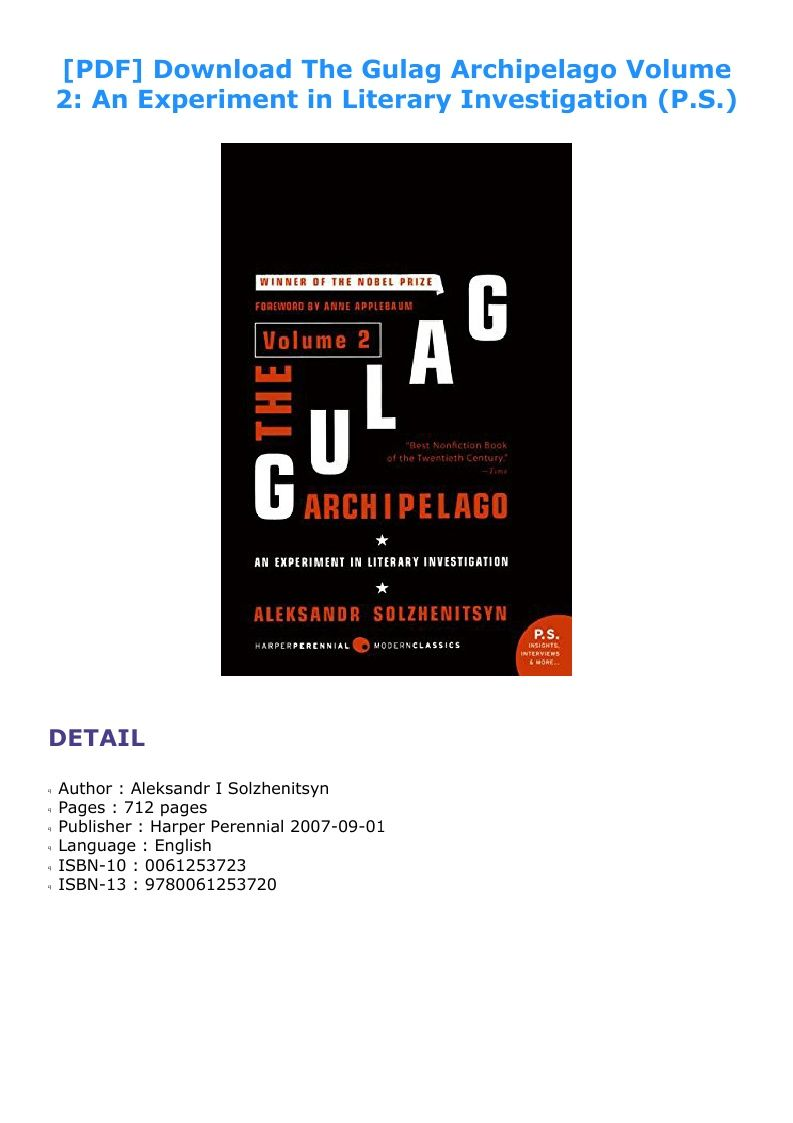 The Gulag Archipelago Pdf Volume 2