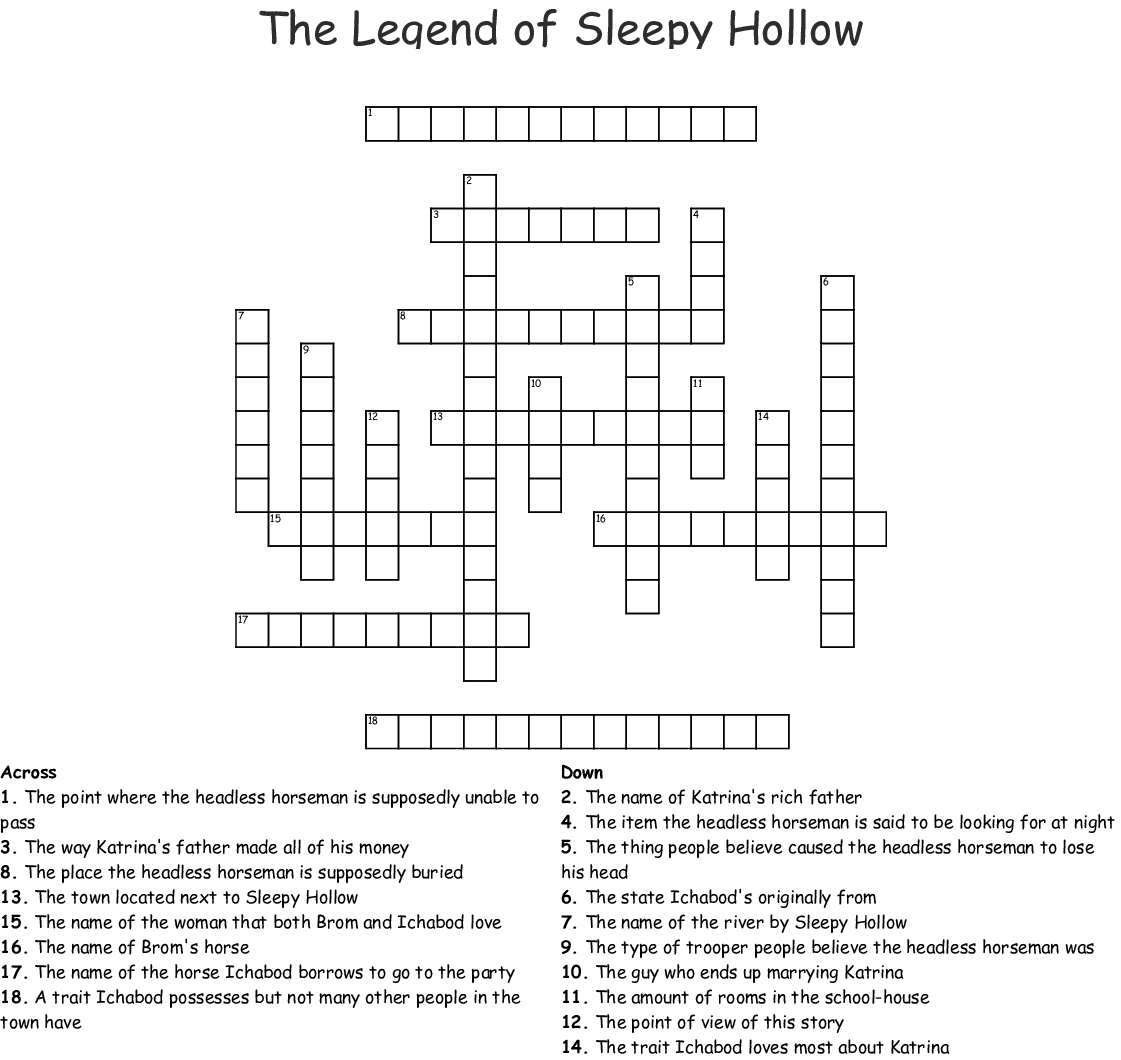 The Legend Of Sleepy Hollow Worksheets Pdf
