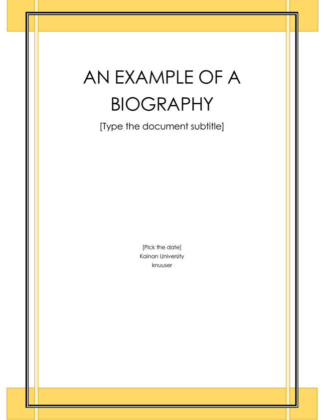 Word Document Biography Template Pdf