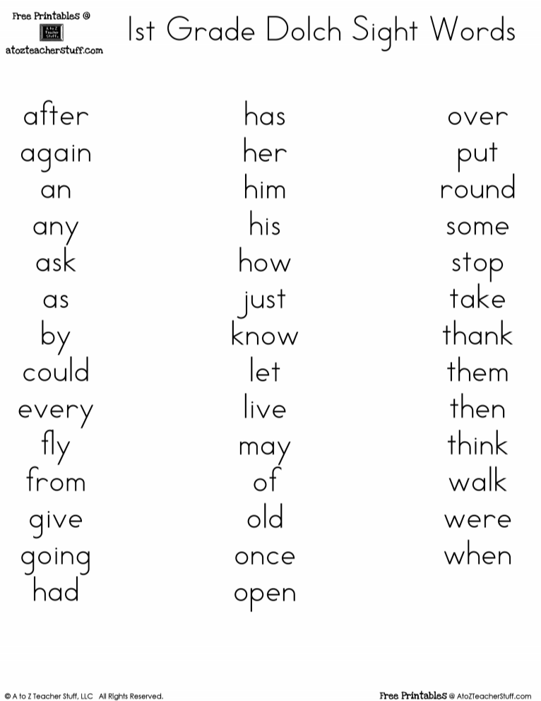 3rd Grade Dolch Sight Words Pdf