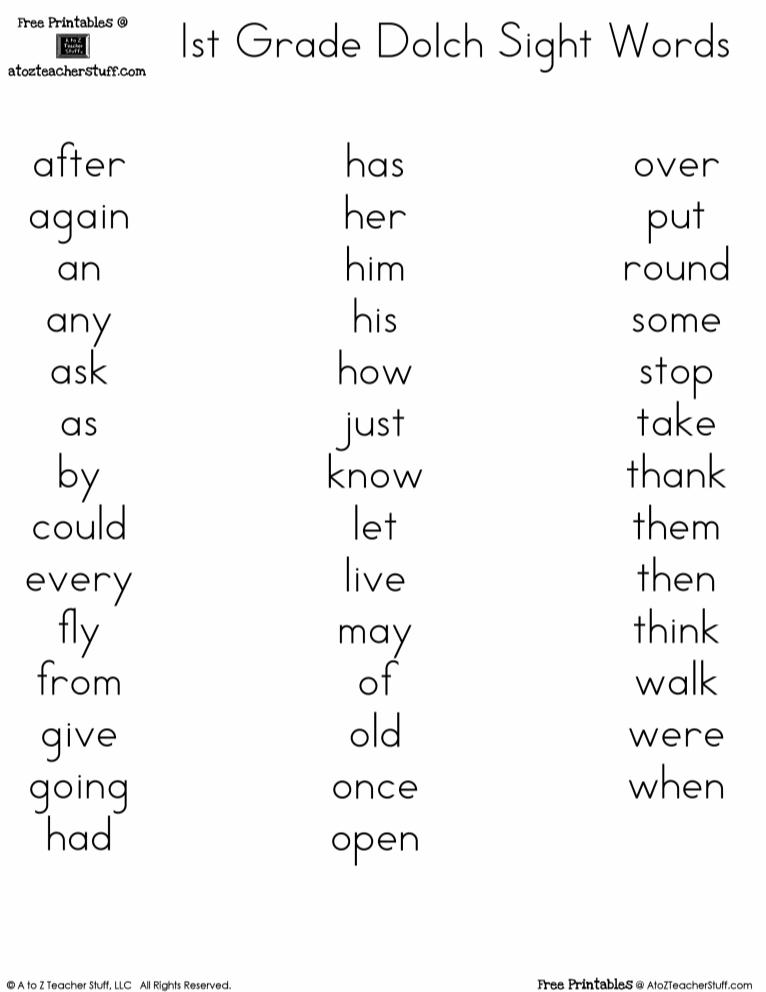3rd Grade Dolch Sight Words Pdf