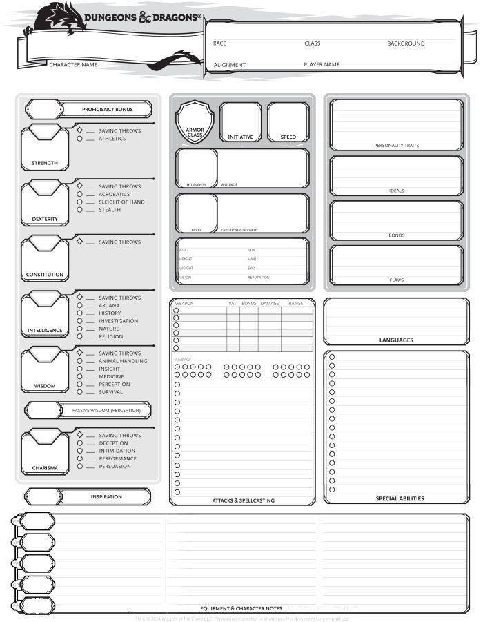 5th Edition Dungeons And Dragons Character Sheet Pdf