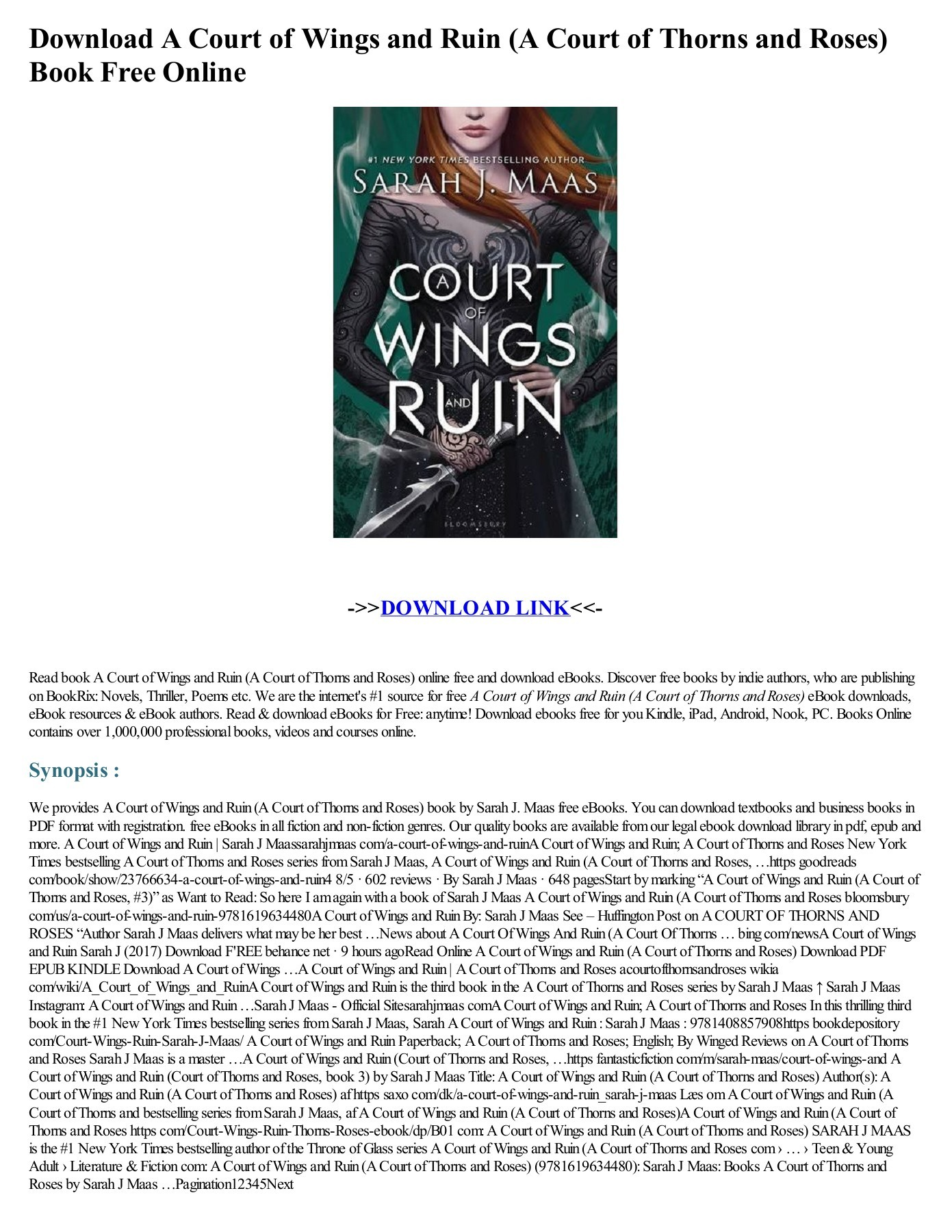 A Court Of Mist And Fury Pdf Weebly