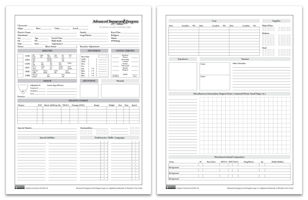 Advanced Dungeons And Dragons Character Sheet Pdf