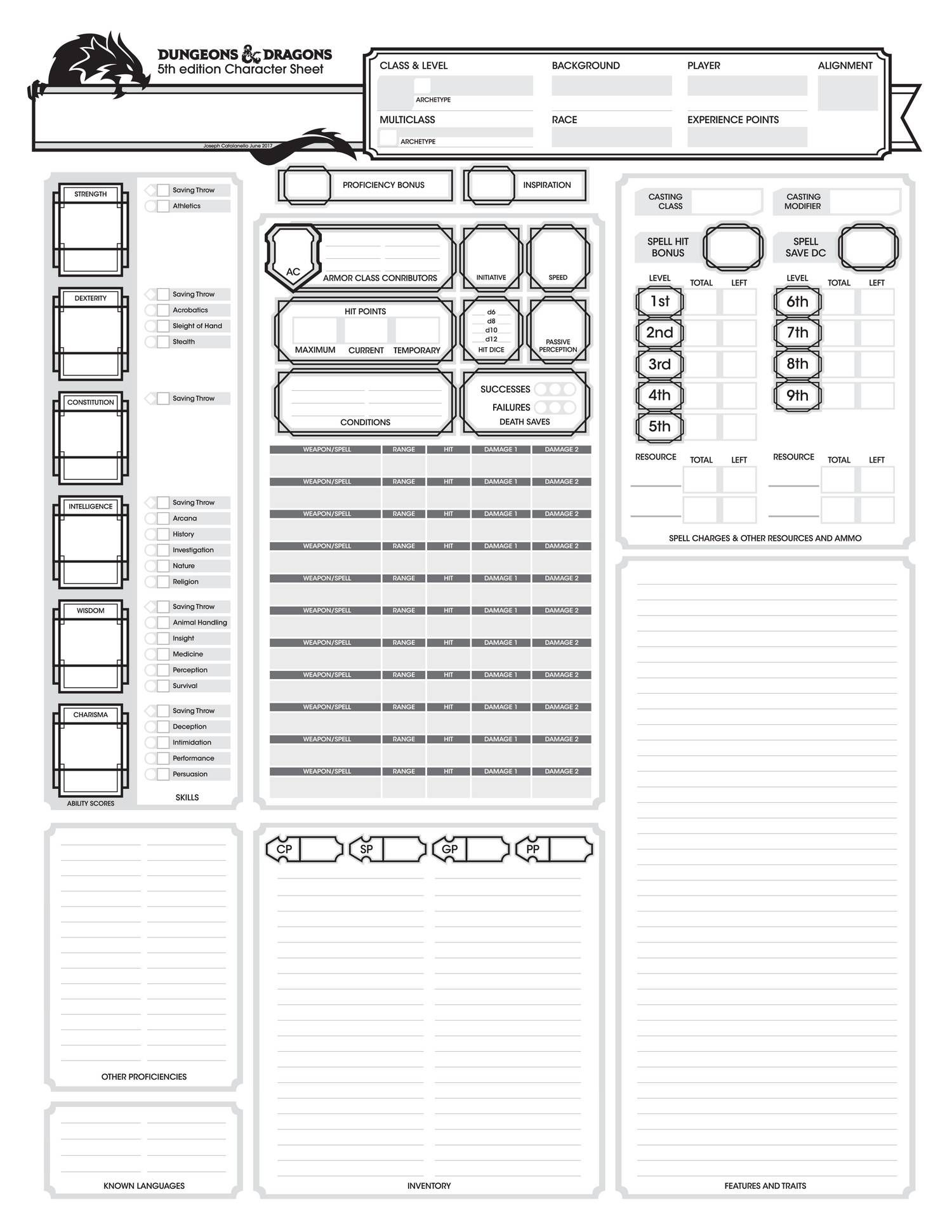 Basic Dungeons And Dragons Character Sheet Pdf