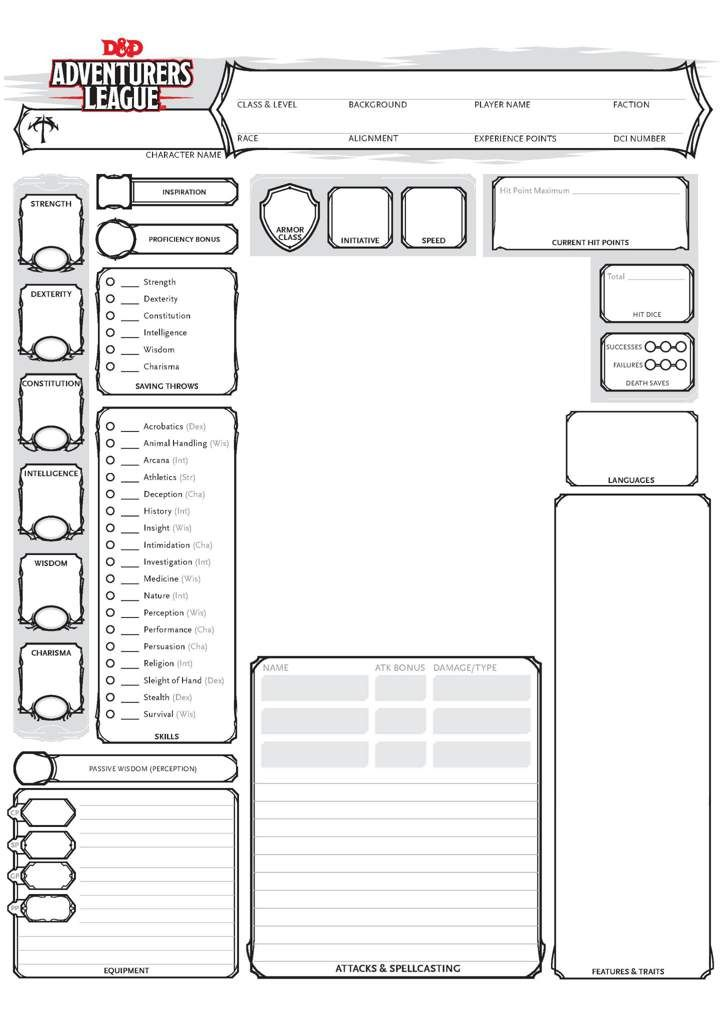 Blank Dungeons And Dragons Character Sheet Pdf