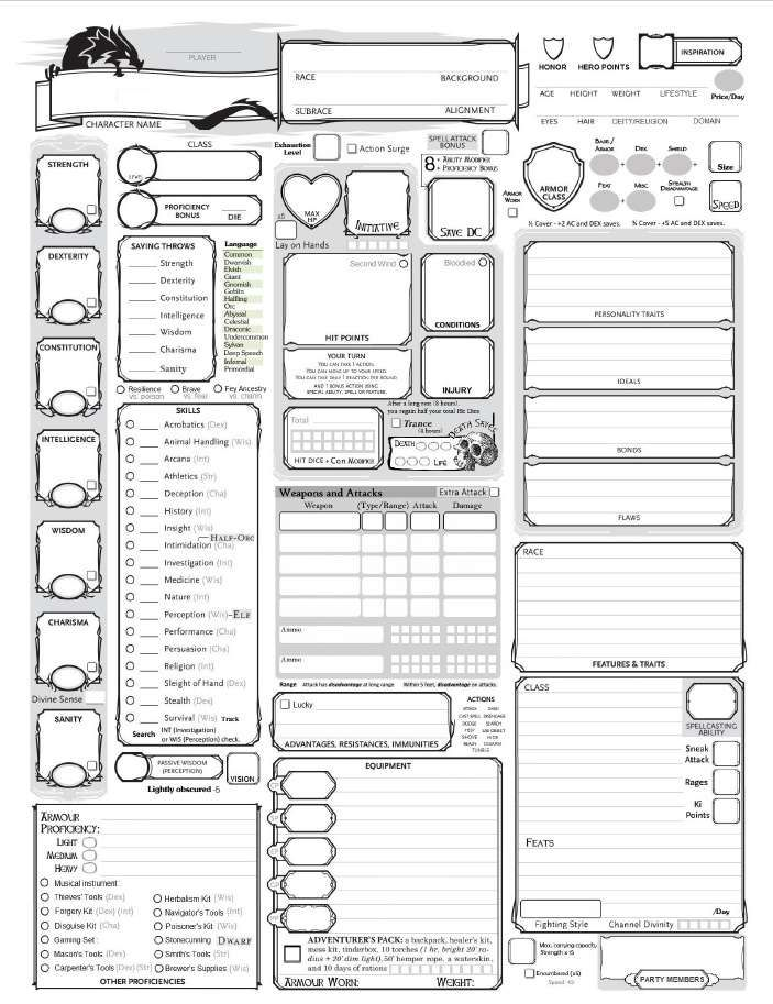 Downloadable Dungeons And Dragons Character Sheet Pdf