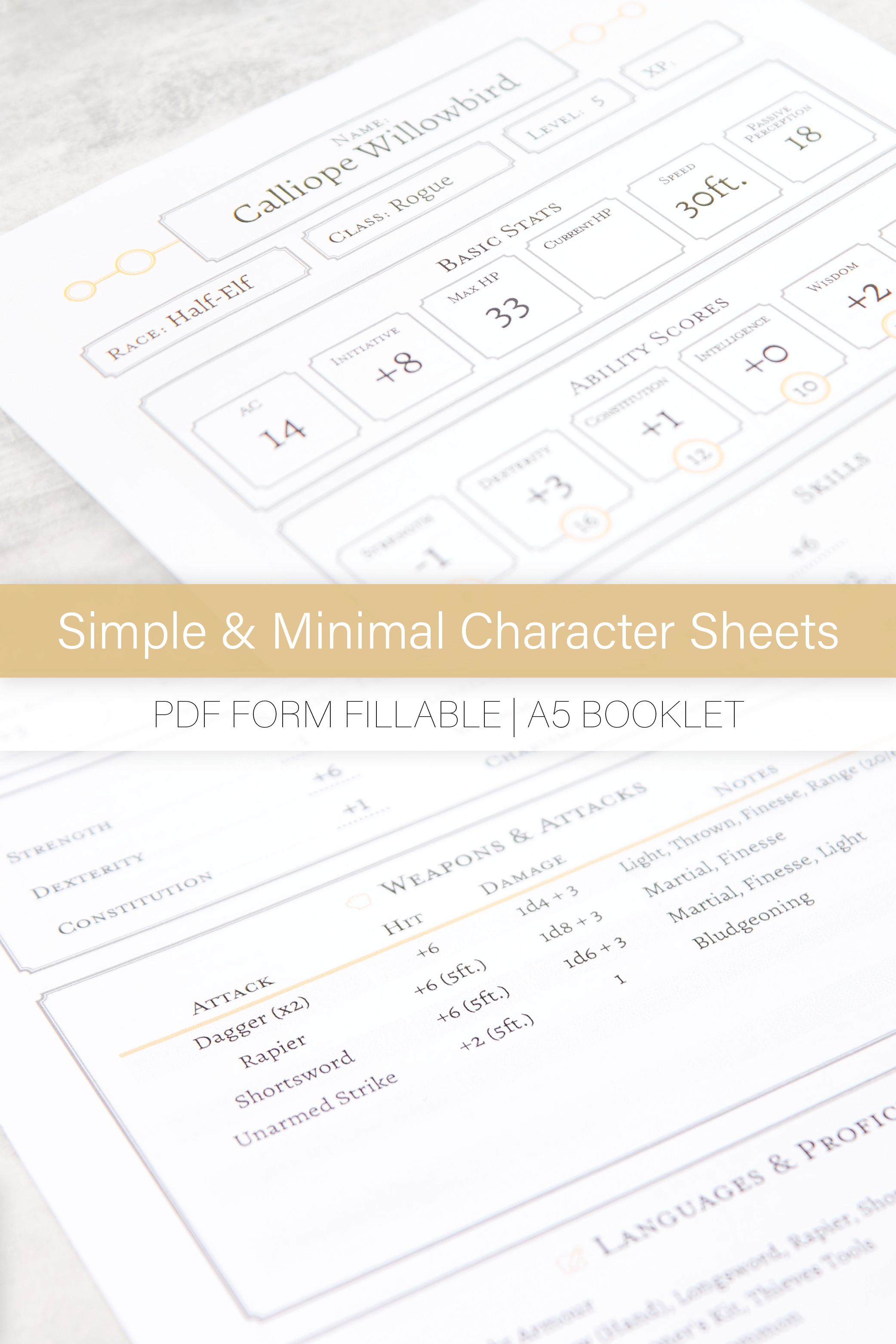 Dungeons And Dragons 5e Character Sheet Pdf