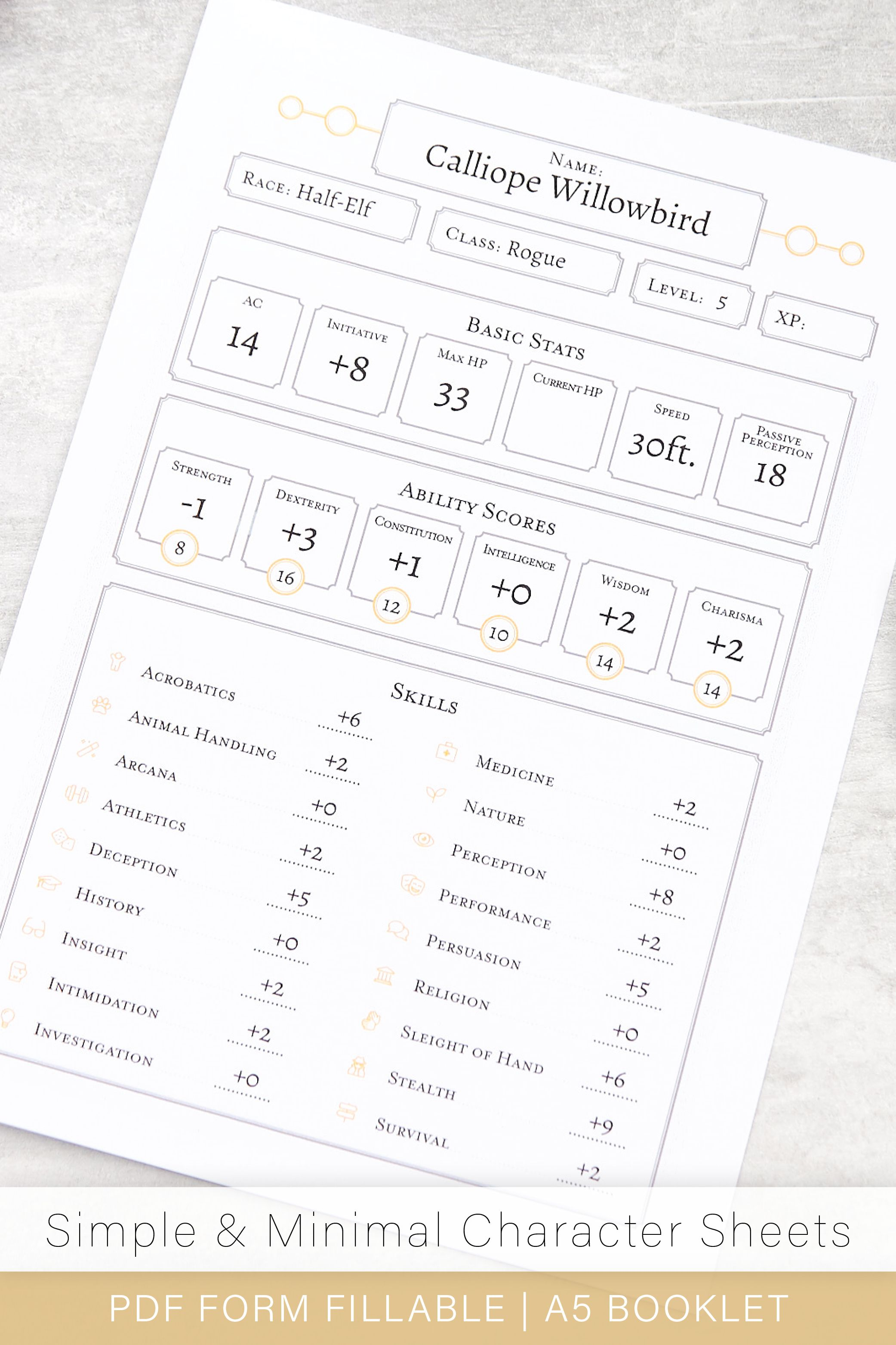 Dungeons And Dragons Character Sheet Pdf