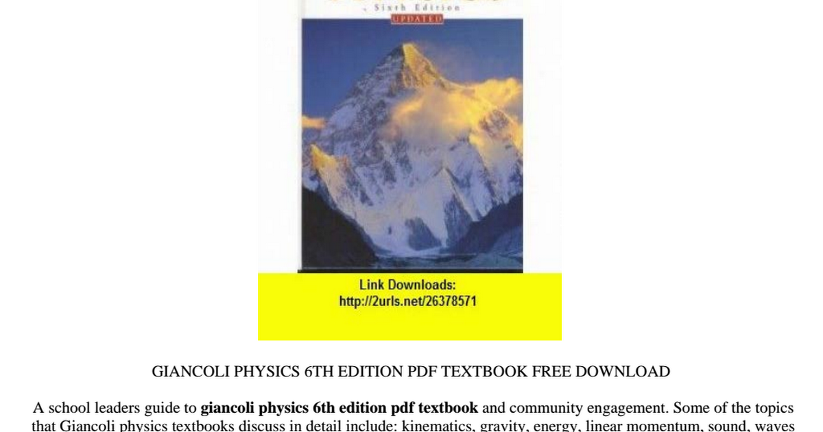 Giancoli Physics 6th Edition Pdf Download