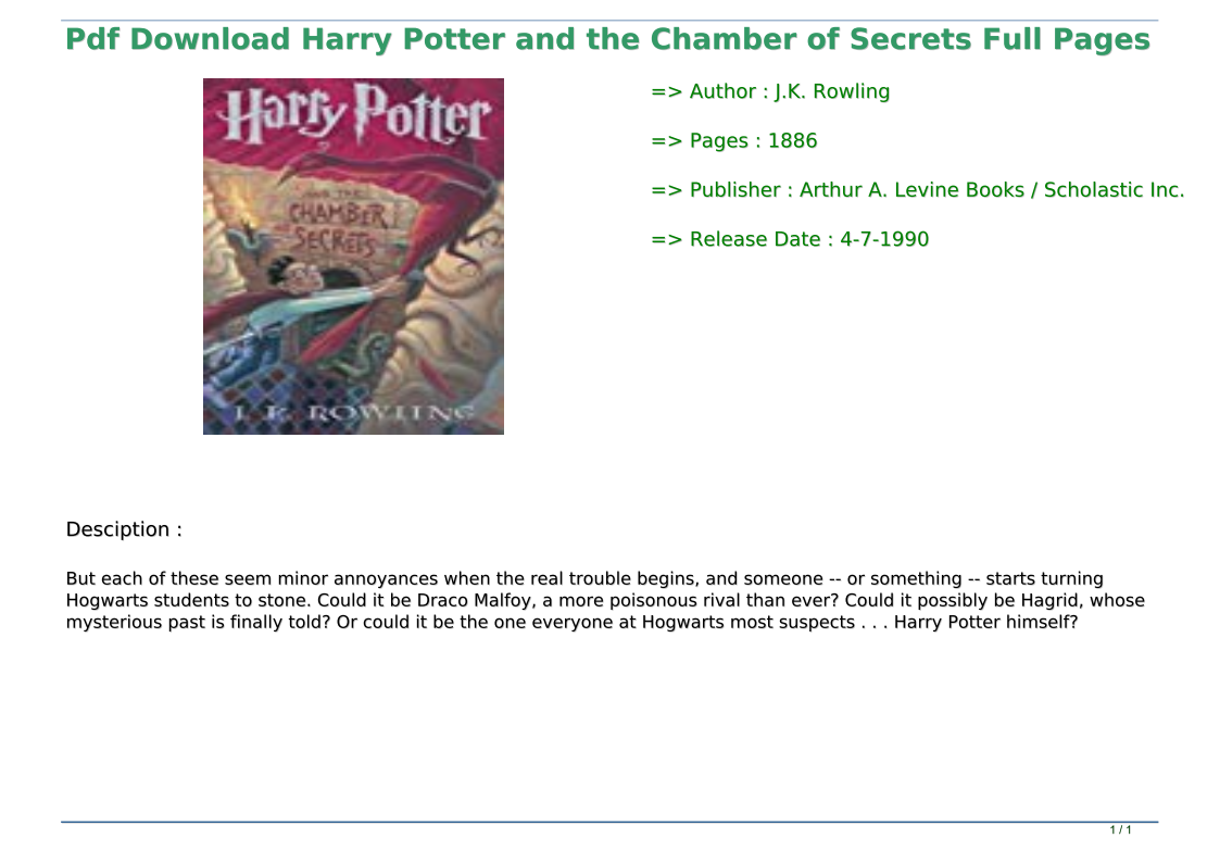 Harry Potter Chamber Of Secrets Pdf