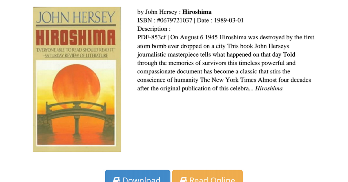 Hiroshima John Hersey Pdf