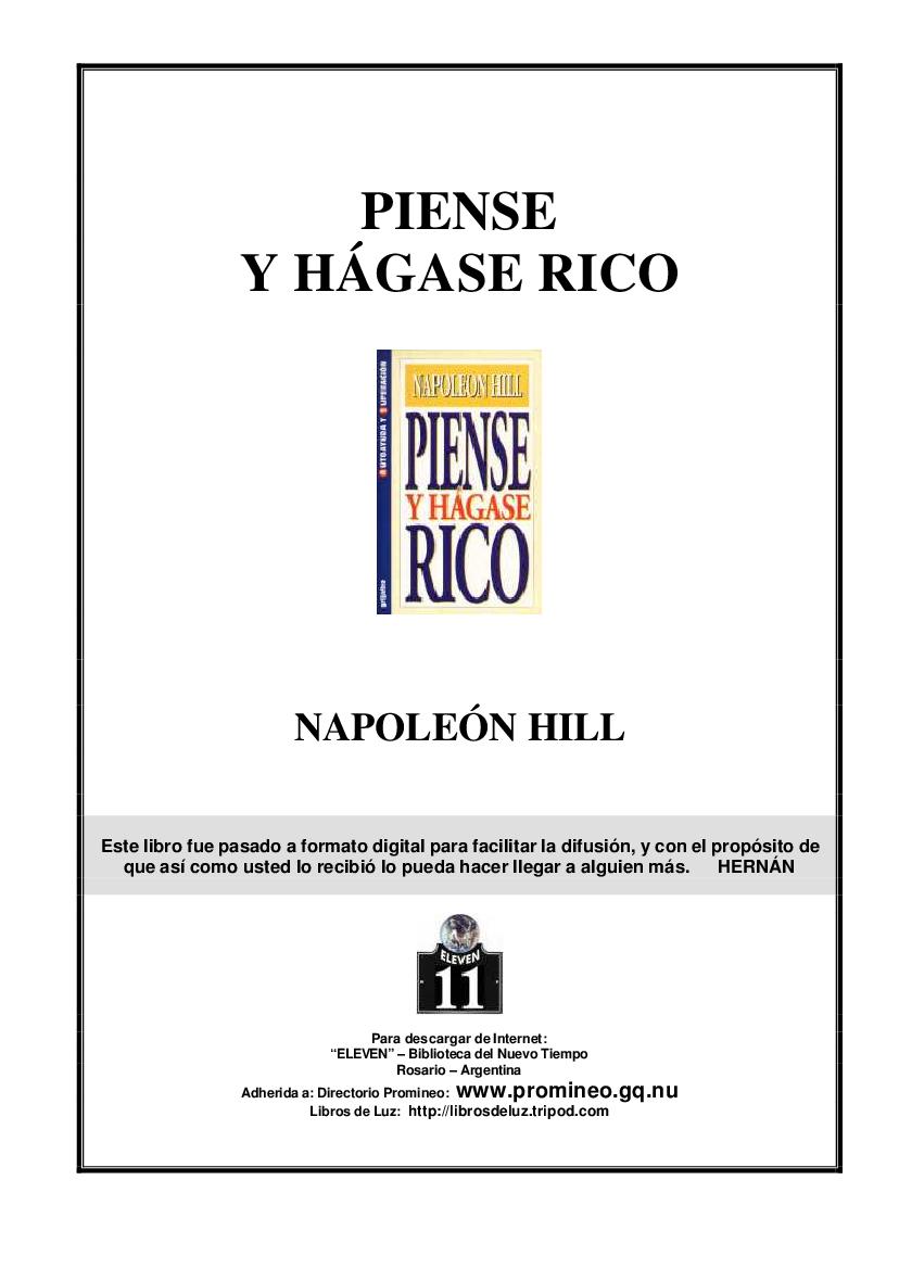 Napoleon Hill Piense Y Hagase Rico Pdf