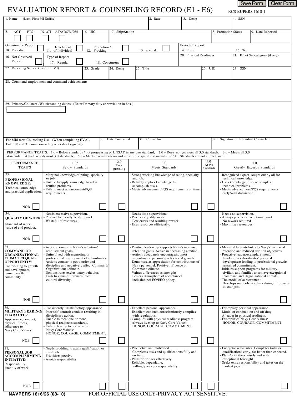 Navy Eval Pdf E1 E6