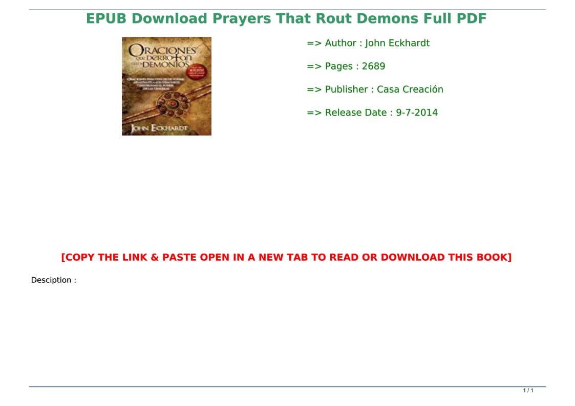 Prayers That Rout Demons Pdf Download