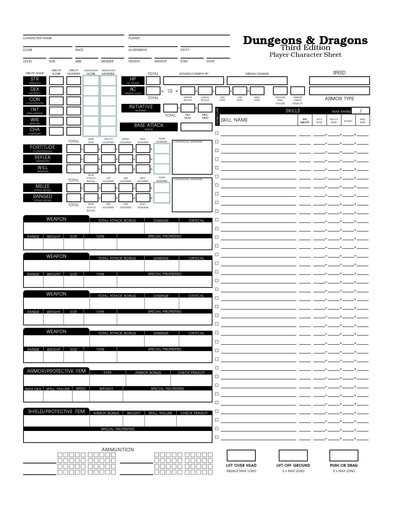 Printable Advanced Dungeons And Dragons Character Sheet Pdf