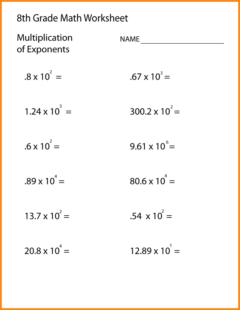 Printable Eighth Grade 8th Grade Math Worksheets Pdf