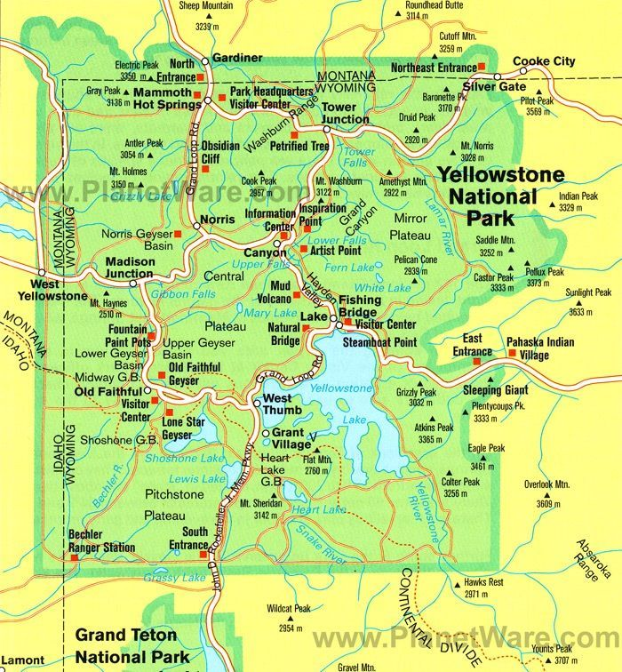 Printable Yellowstone National Park Map Pdf