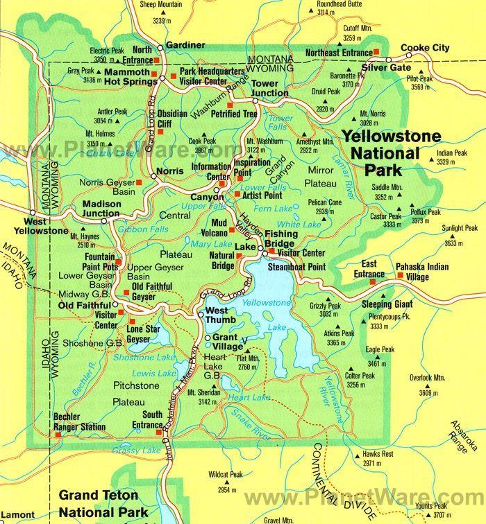 Printable Yellowstone National Park Map Pdf