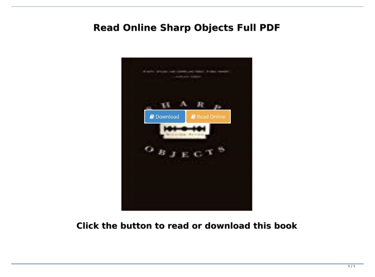 Sharp Objects Pdf Book