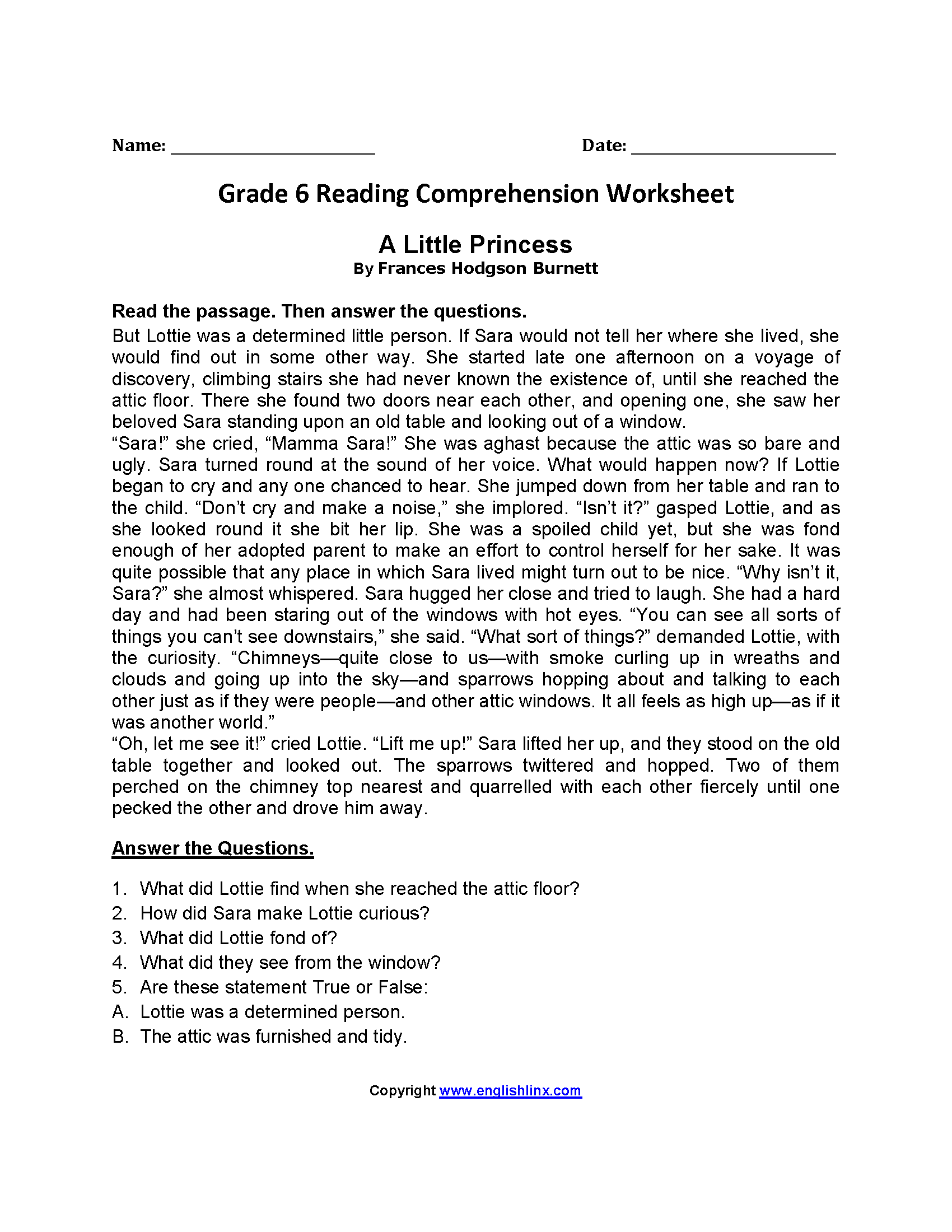 Sixth Grade 6th Grade Reading Comprehension Worksheets Pdf