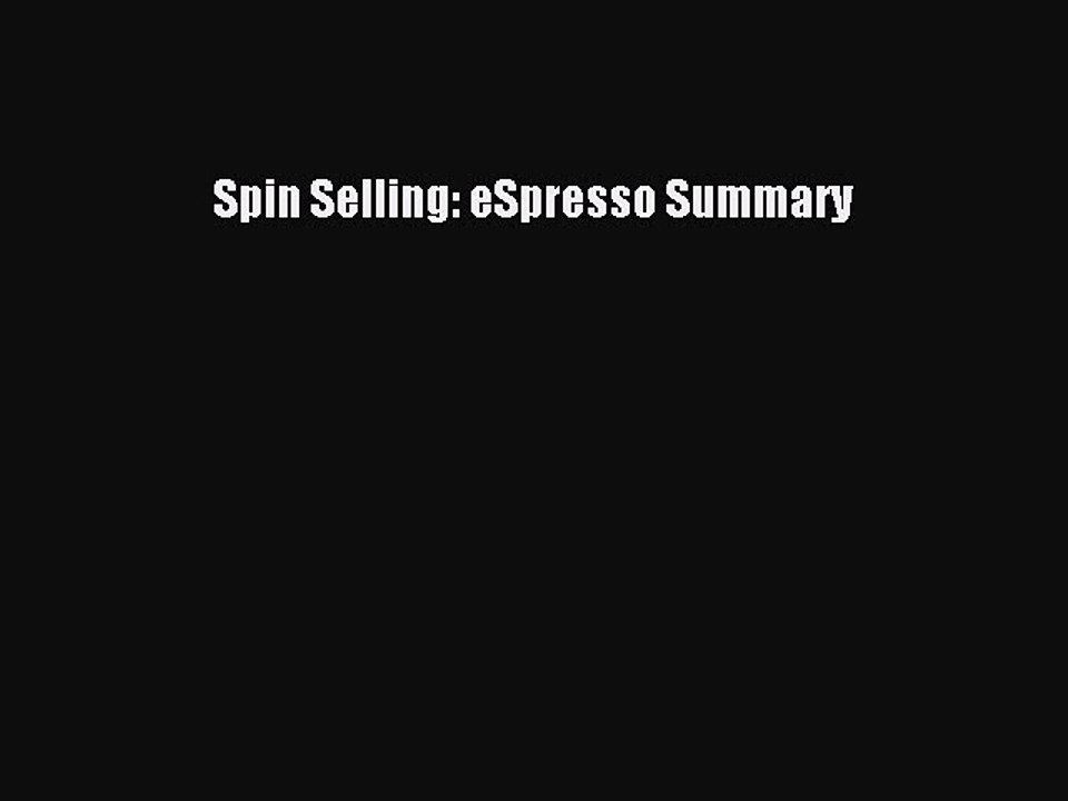 Spin Selling Pdf Summary