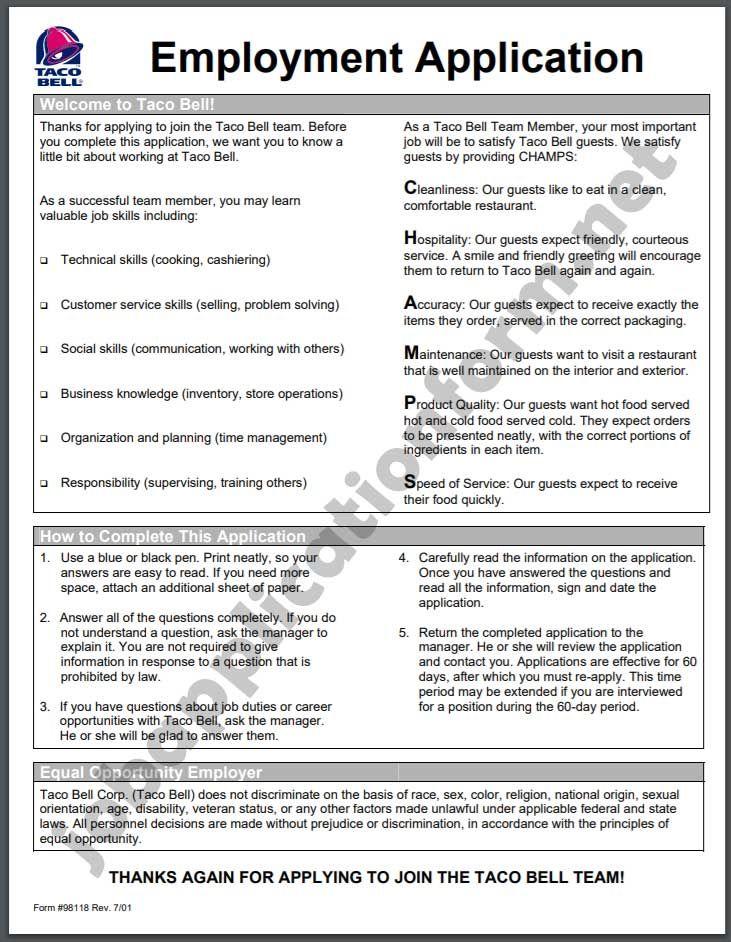 Taco Bell Job Application Pdf