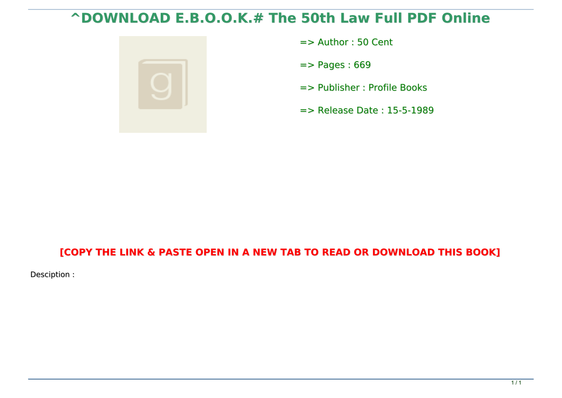 The 50th Law Pdf Full
