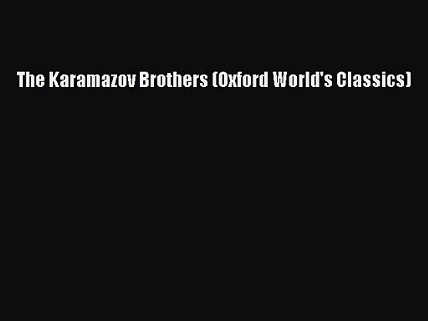 The Brothers Karamazov Pdf Download