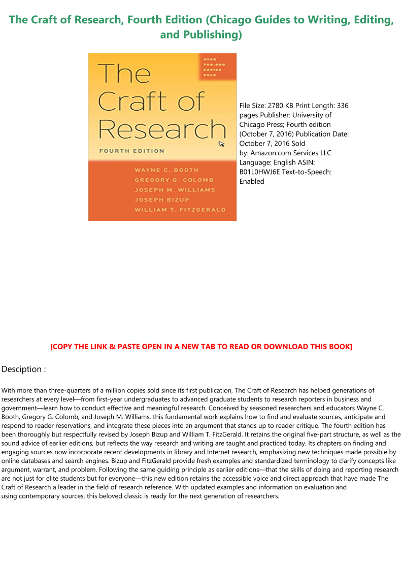 The Craft Of Research Pdf Download