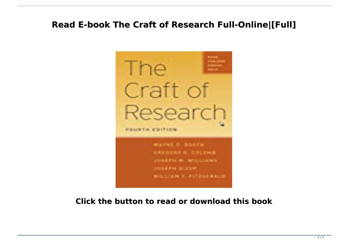 The Craft Of Research Pdf Online