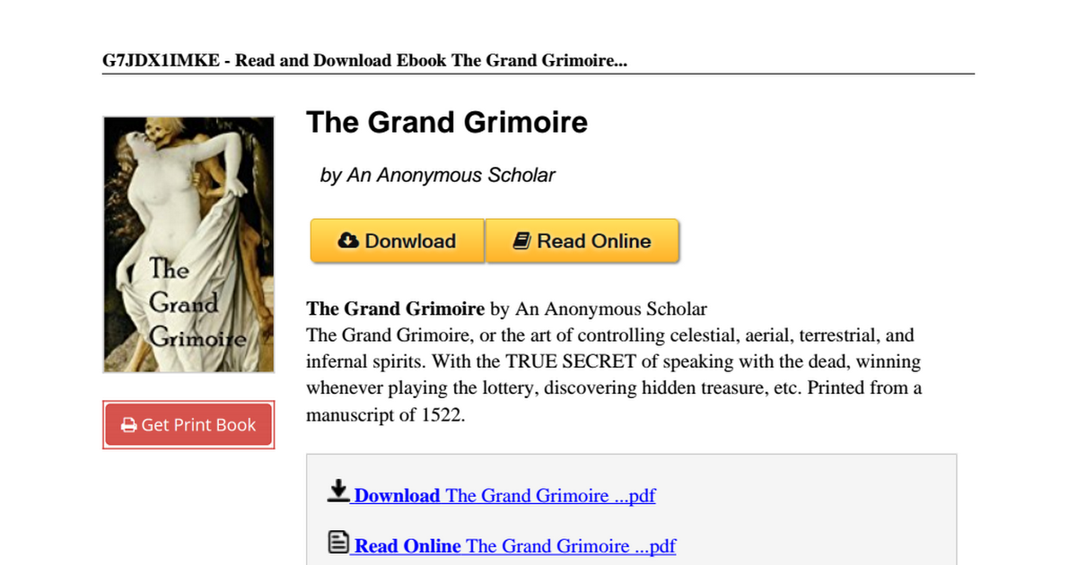 The Grand Grimoire Pdf